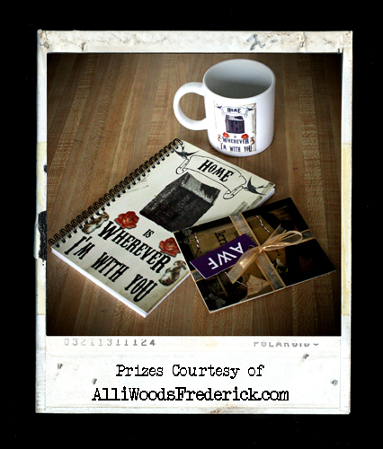 """name my gnome prizes"", alliwoodsfrederick.com, mug, notebook, postcards"