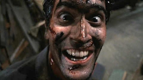 """Bruce Campbell as Ash in Evil Dead II: Dead By Dawn"""