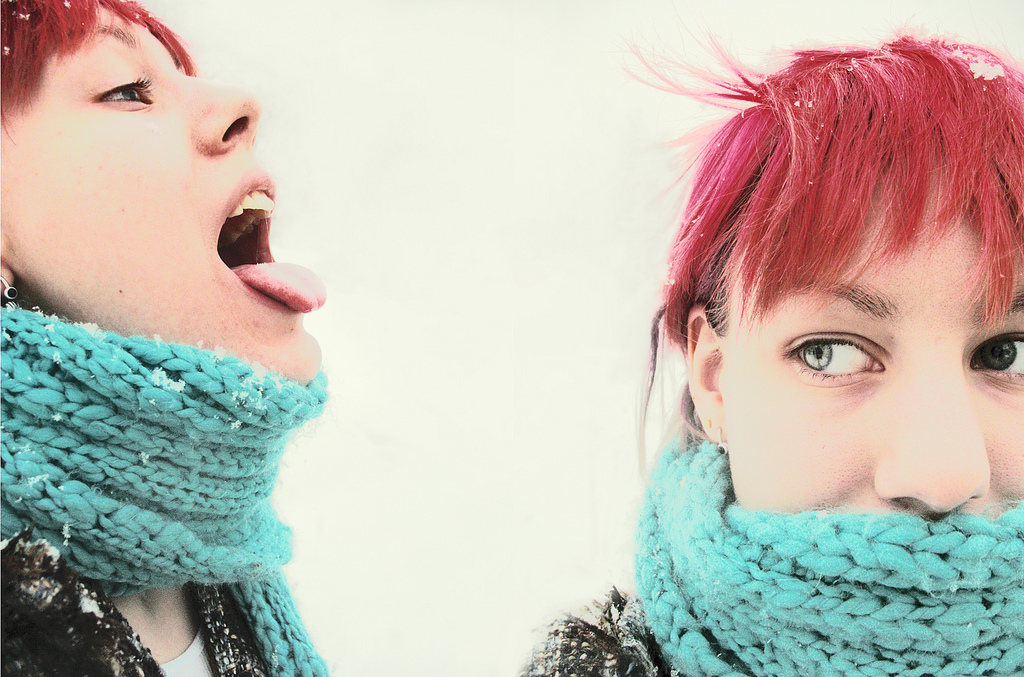 """punk girl catching snowflakes"" photograph ""punk girl with pink hair"""