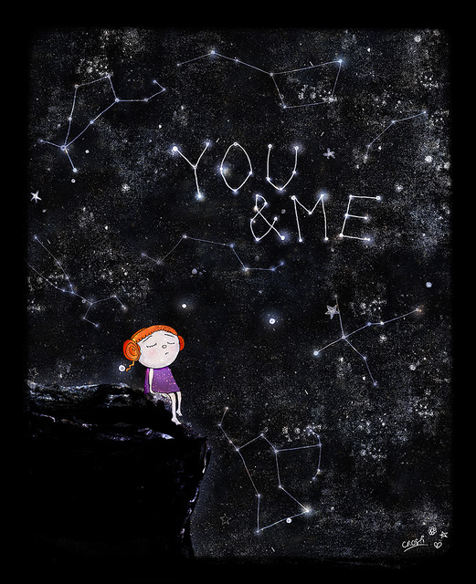 """illustration of redheaded girl gazing at the stars which spell out you & me"""