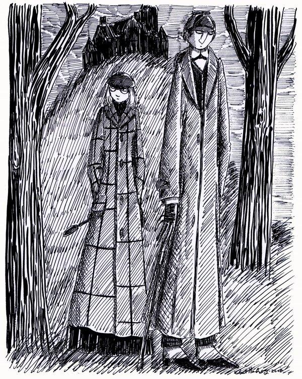 """Edward Gorey inspired pen and ink illustration"""