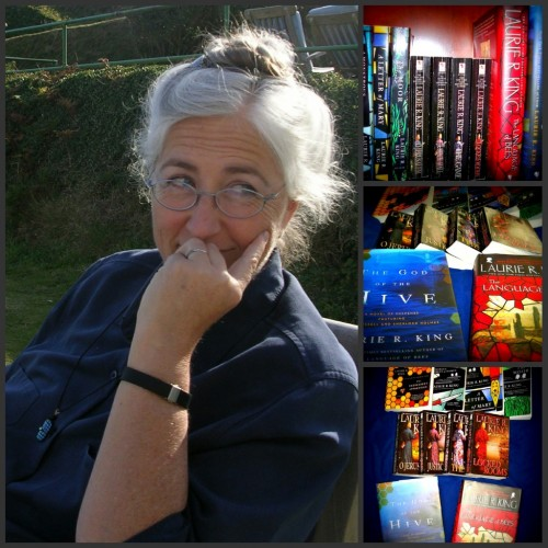 """Photo of auther Laurie R King and a selection of her books."""