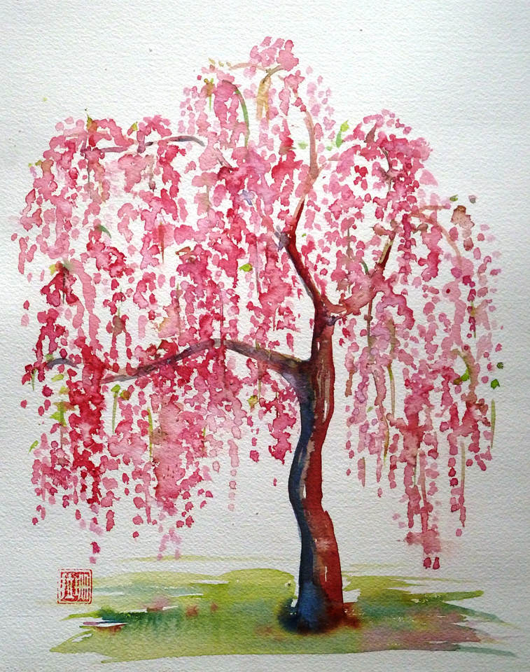 """water color of a cherry tree by sarah gayle for the art for all project on kisses & chaos"""