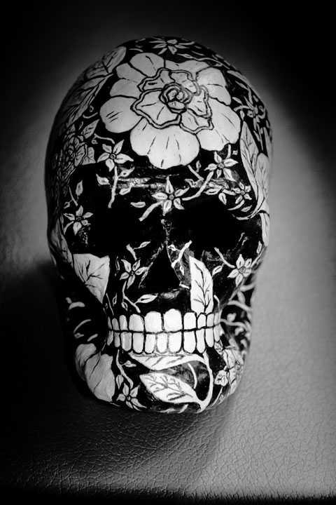 """floral black and white skull by artist Alli Woods Frederick"""