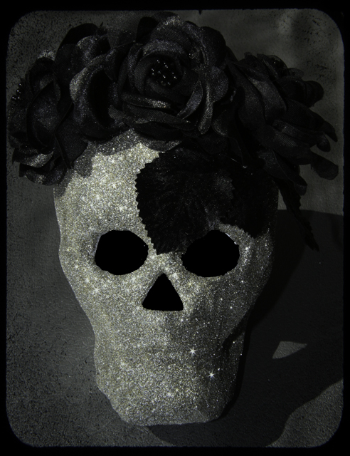 """disco ball inspired dia de los muertos/halloween skull by Alli Woods Frederick"""