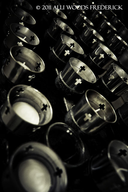 """""""photo of candles in a catholic church by alli woods frederick"""""""