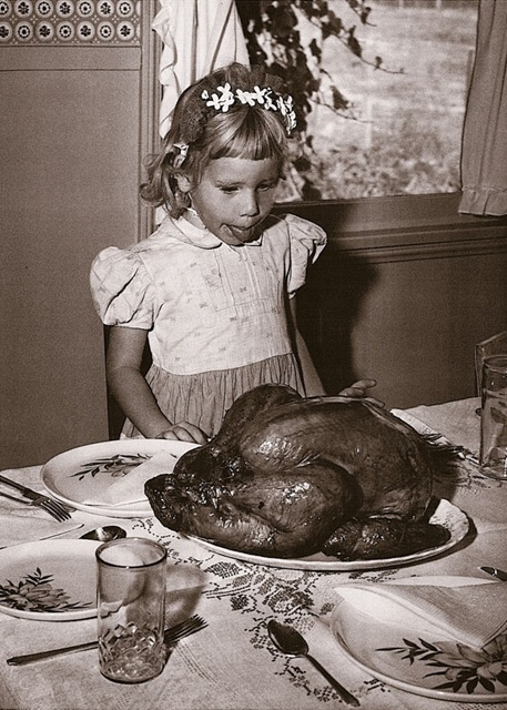 kid with turkey