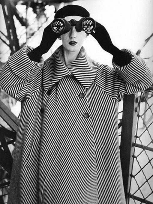 vintage woman with binoculars fashion