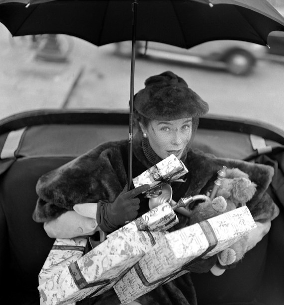 vintage woman with presents